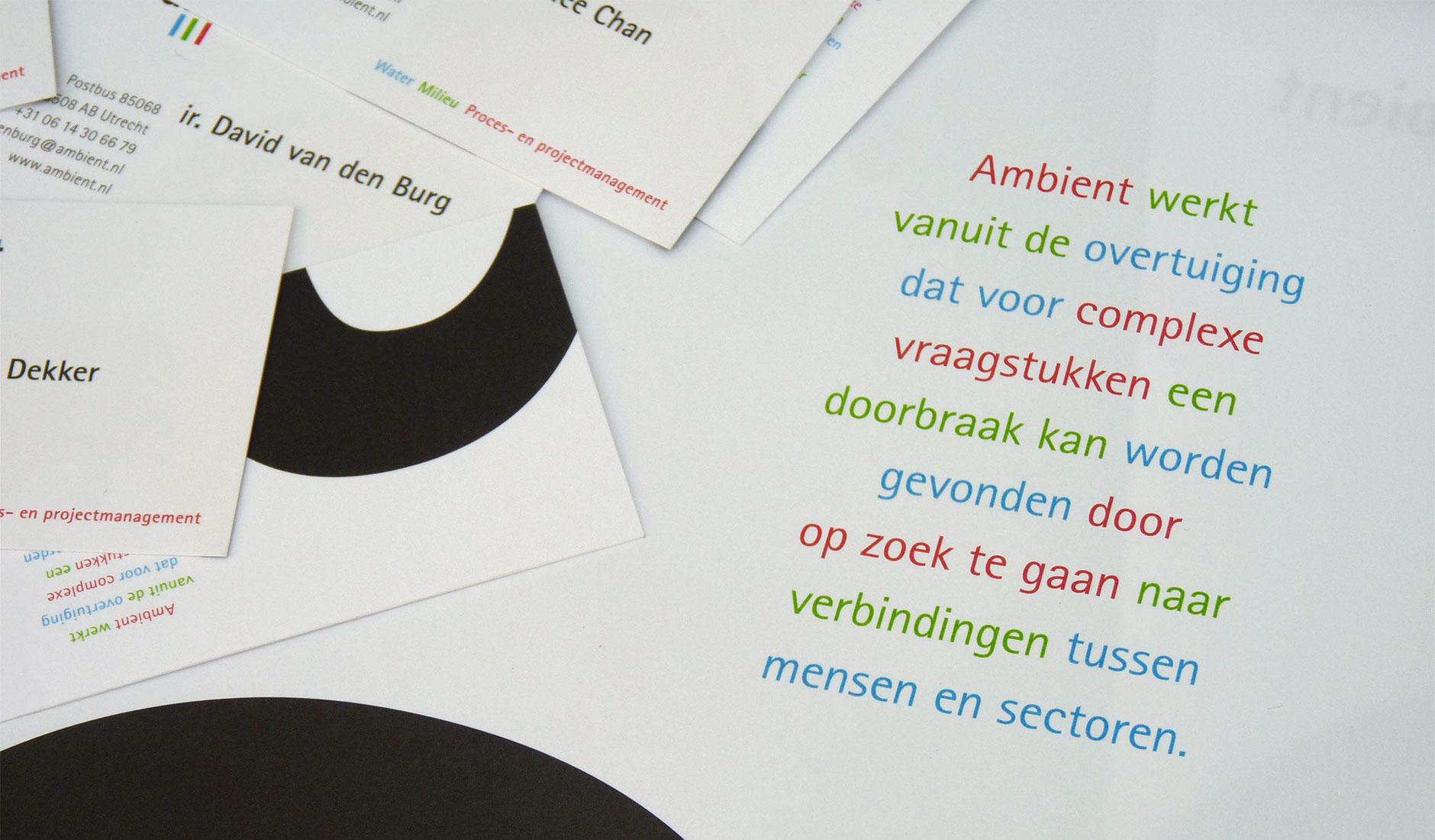 Ontwerp voor visitekaartjes en briefpapier Ambient