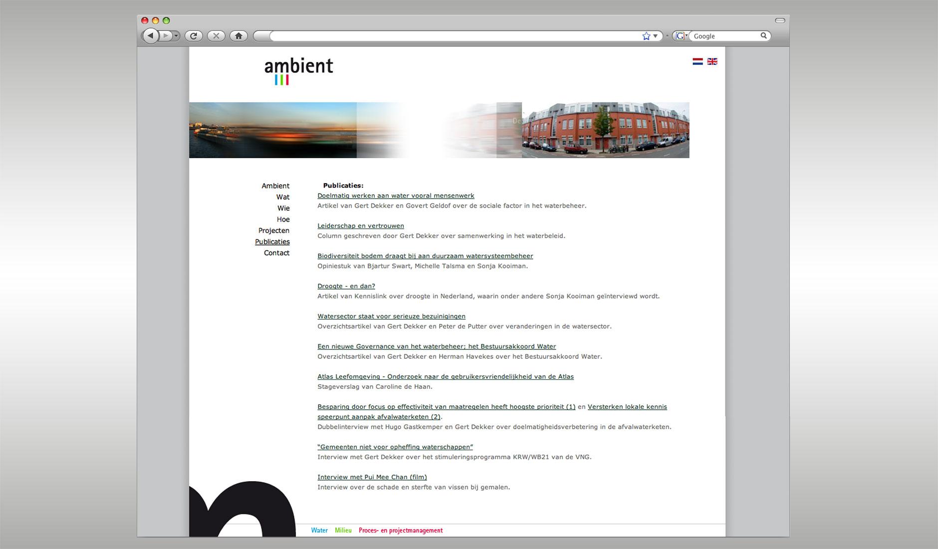 Ontwerp website Ambient, de citaten en beelden op de website animeren.