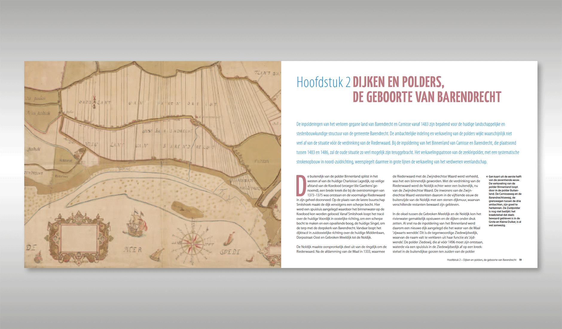 """Ontwerp van de titelpagina van het hoofdstuk: """"Dijken en polders, de geboorte van Barendrecht"""""""