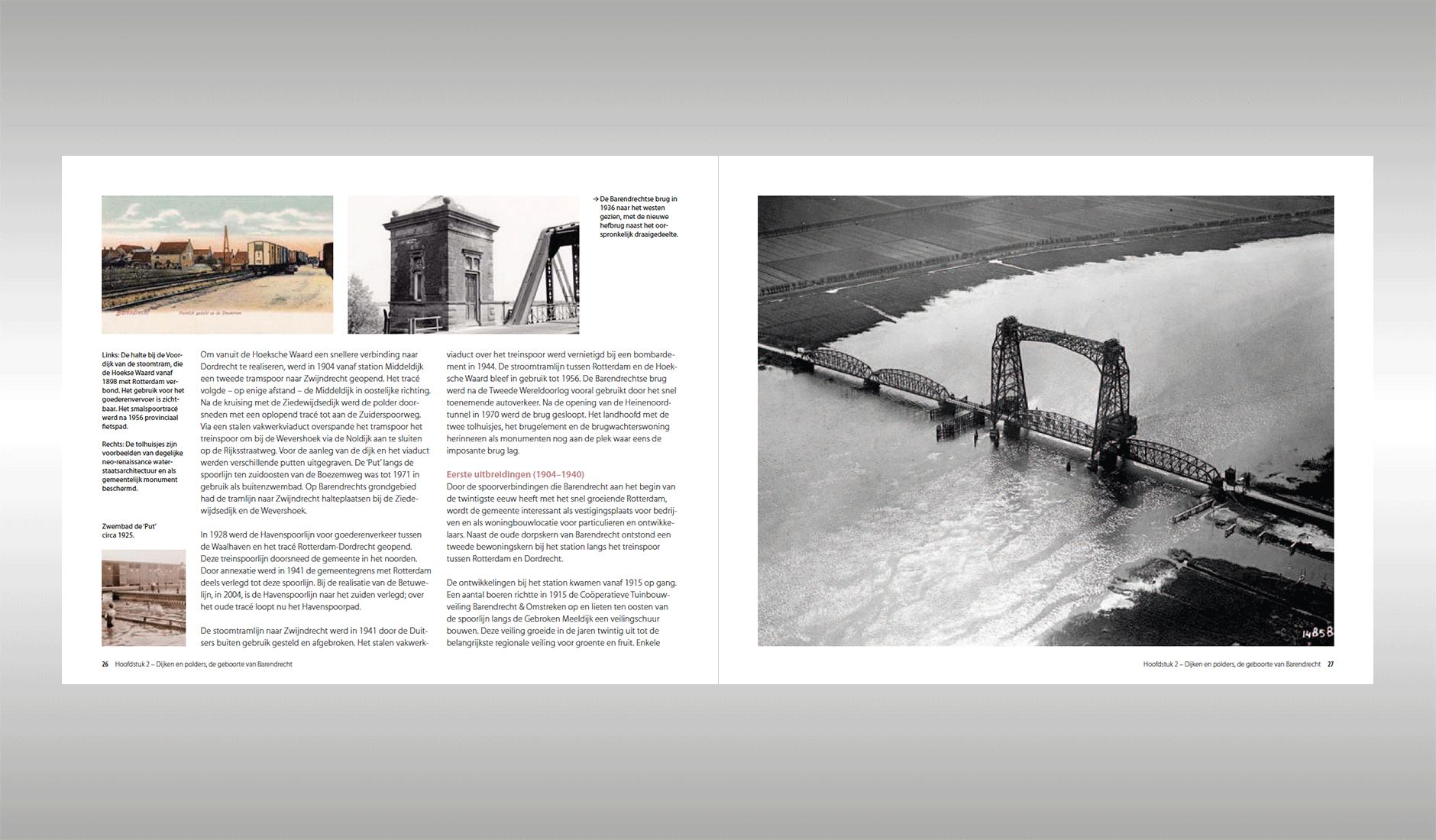 """Ontwerp van een spread uit het hoofdstuk: """"Dijken en polders, de geboorte van Barendrecht"""""""