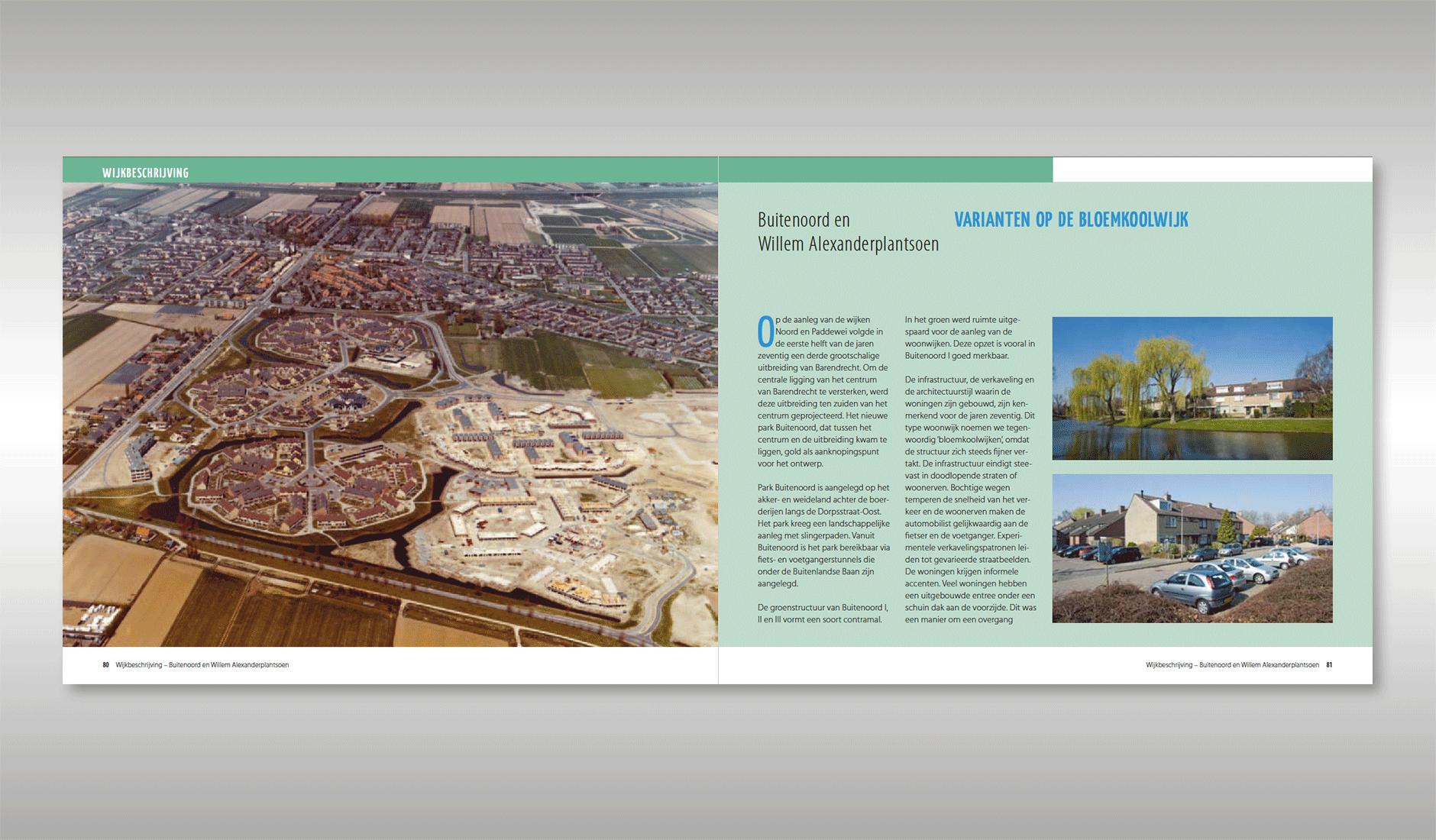 Ontwerp voor wijkbeschrijvingen. Spread met wijkbeschrijving Buitenoord en Willem Alexanderplantsoen