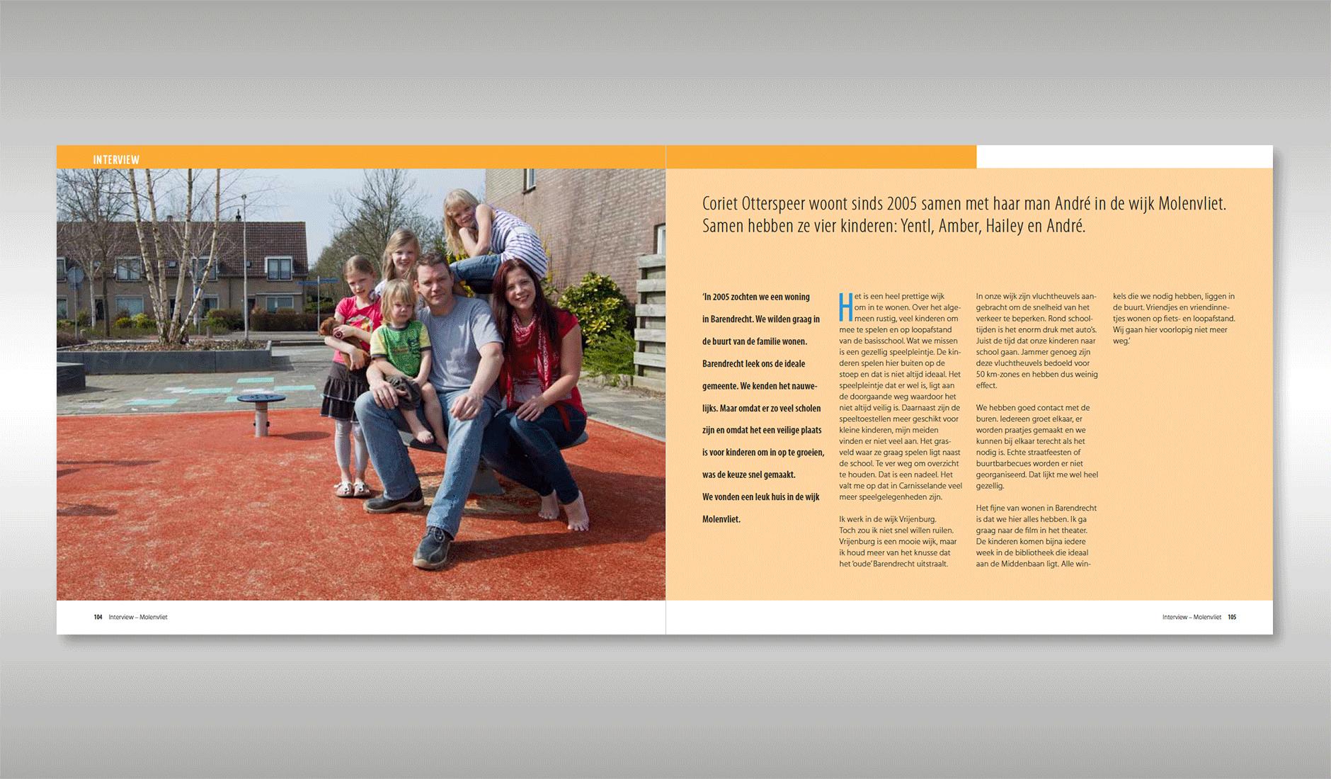 Ontwerp voor interviews met wijkbewoners. Foto en tekst van bewoners uit de wijk Molenvliet
