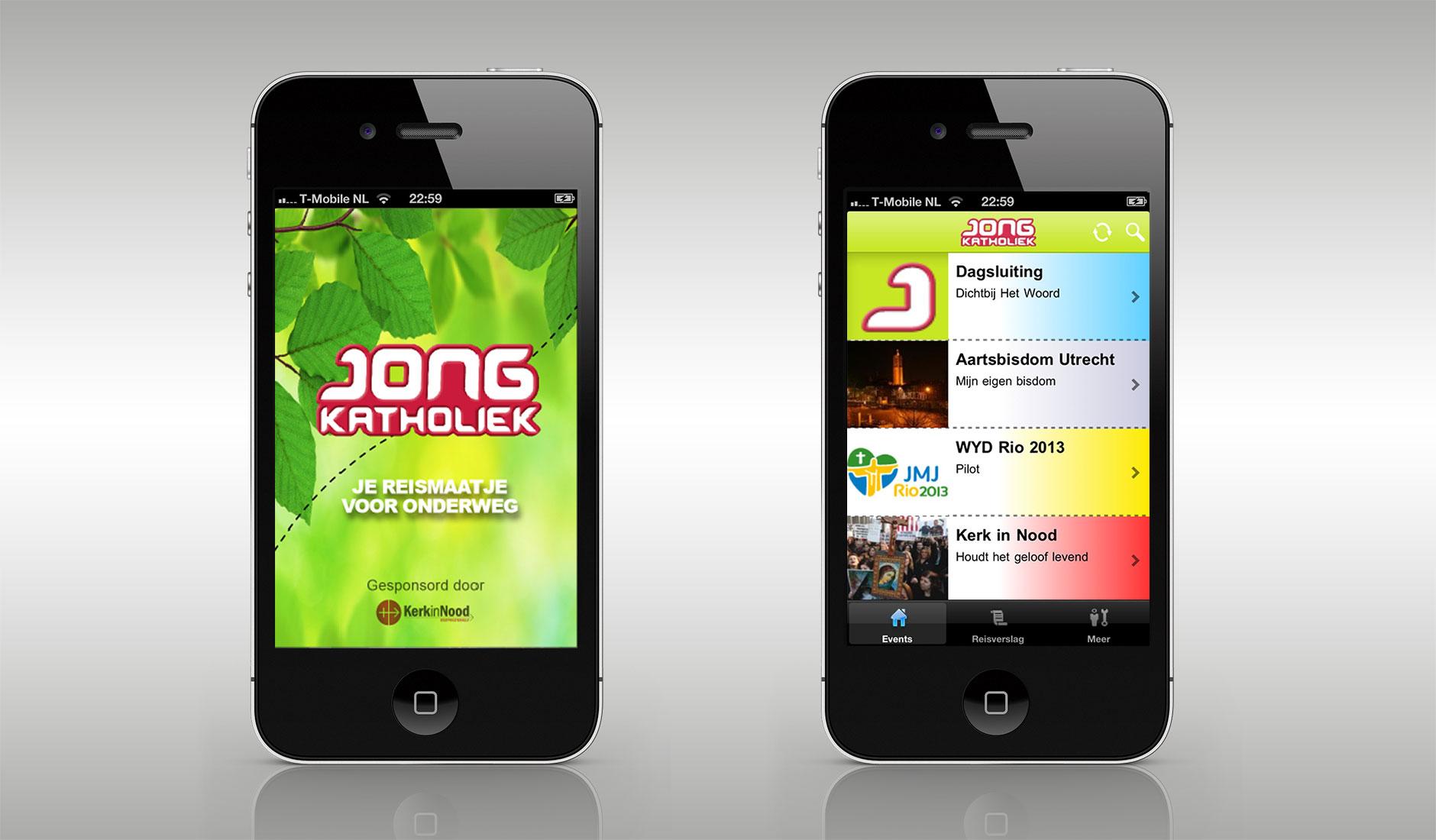 Ontwerp smartphone app Jong Katholoiek. Je reismaatje voor onderweg. Splashscreen en menuscherm