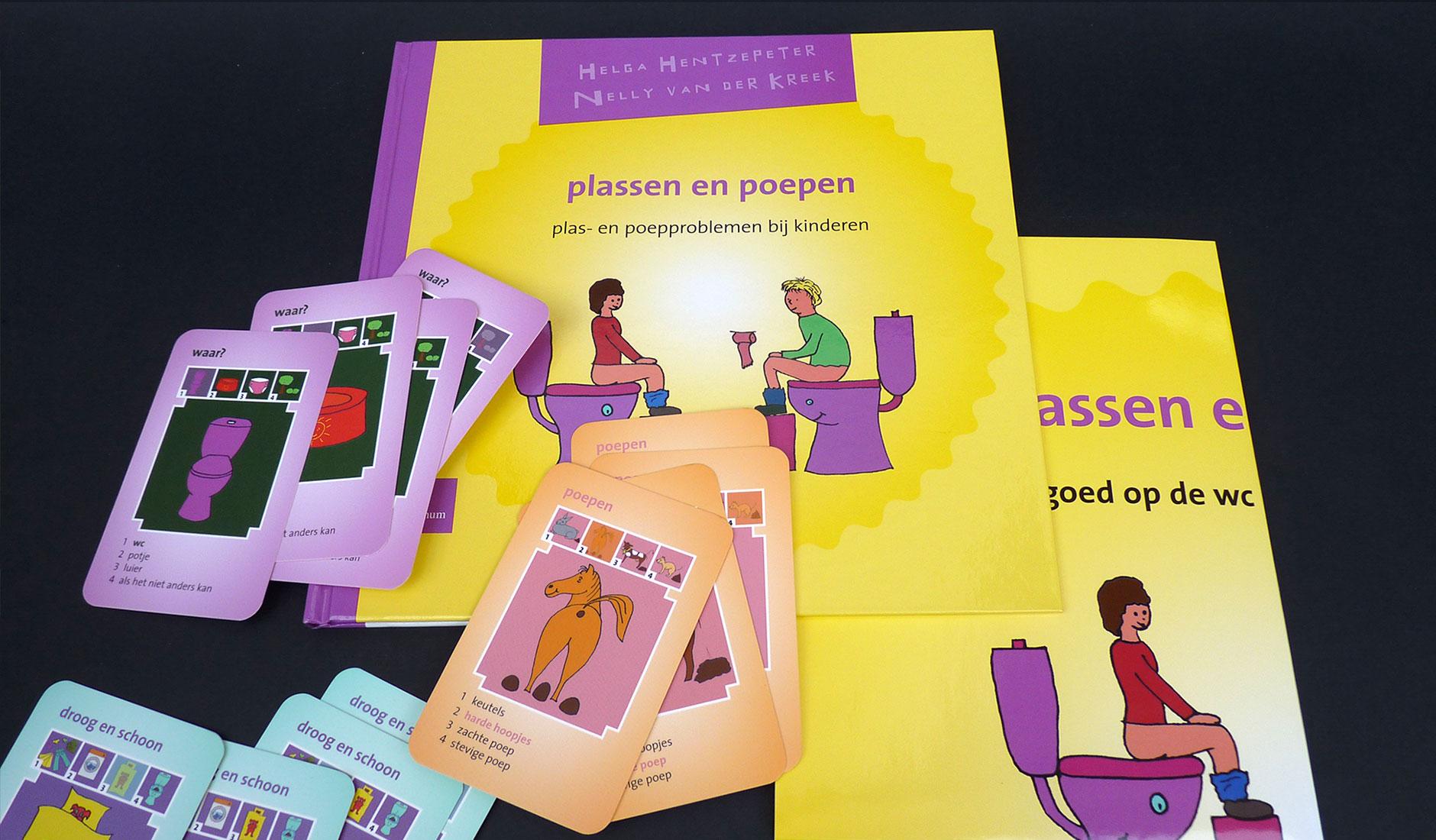 Ontwerp boekomslag, poster en kwartetspel voor 'Plassen en peopen'.