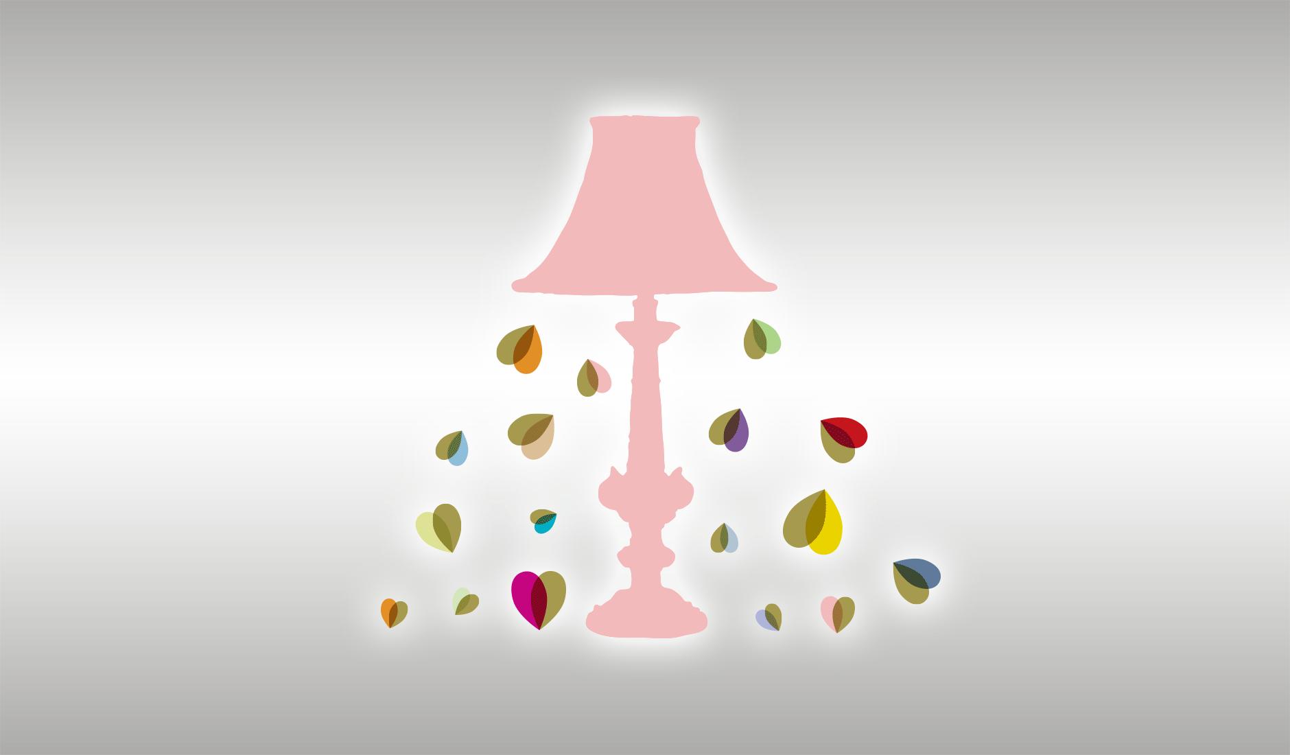 Illustratie voor Soullutions. Schemerlamp met lichtbundel van hartjes.