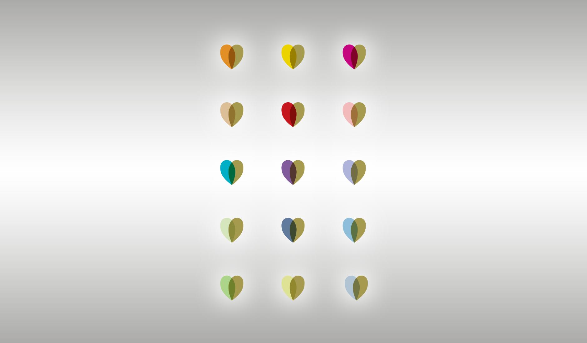 Hartjes in verschillende kleurcombinaties. De hartjes zijn herkenbare elementen in illustraties die voor de website ontworpen zijn.
