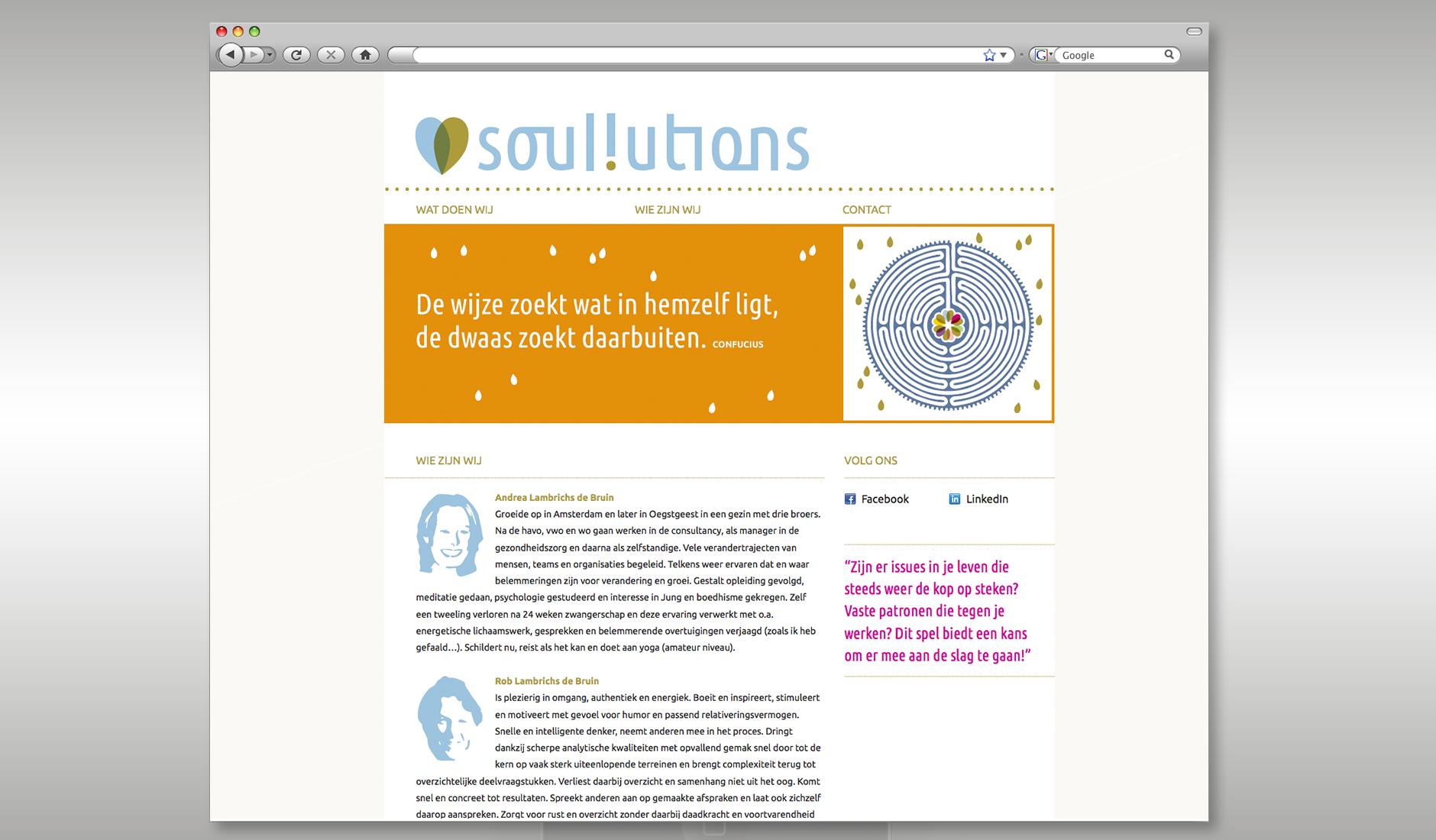 """Ontwerp website Soullutions, met illustratie van een labyrinth en een quote """"De wijze zoekt wat in hemzelf ligt, de dwaas zoekt daarbuiten - Confucius""""."""