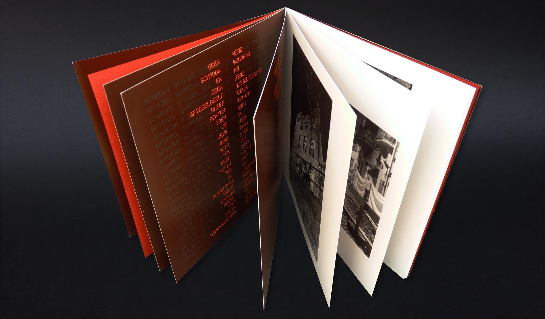 Mooi totaalbeeld van het boek 'Tot nader order geen sterrenhemel' met open waaierende pagina's.